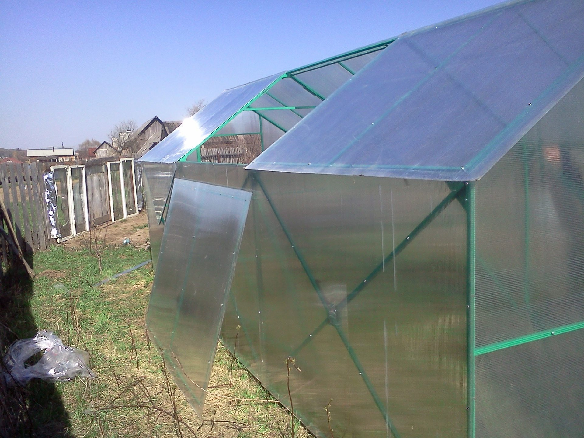Съемная крыша теплицы из поликарбоната