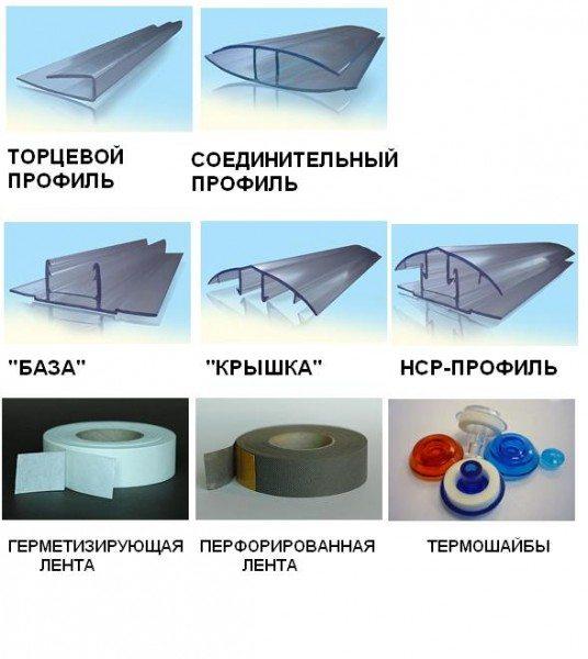 Комплектующие профили для монтажа теплиц из поликарбоната