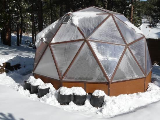 На фото – теплица в форме геодезического купола.