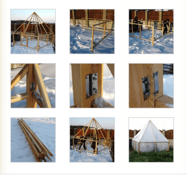Схема постройки из дерева.