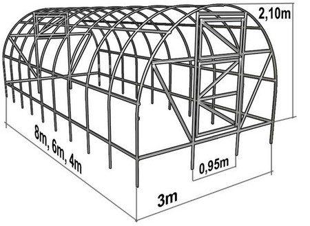Схема соединения деталей теплицы.