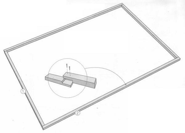 На фото показано, как наращивать брус (деталь 1 и деталь 2).
