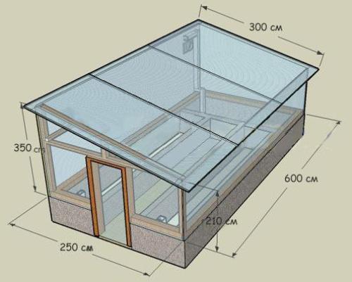 Односкатная конструкция может совмещаться с основным зданием.