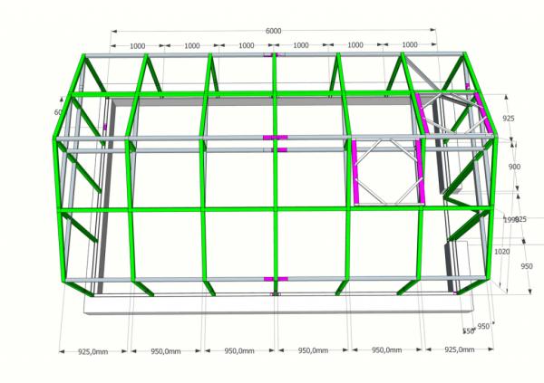 Поликарбонатная двускатная конструкция