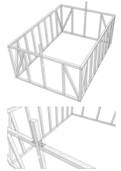 Схема расположения верхней обвязки.