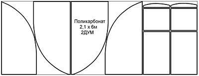 Вариант раскроя поликарбонатной панели