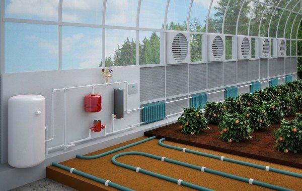 Довольно часто систему обогрева теплиц совмещают вместе с вентиляцией для упрощения контроля за температурой