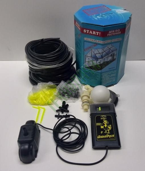 На фото - комплект АкваДуся Старт. Для полной работоспособности нужна накопительная емкость и отвод для подключения к водопроводу.