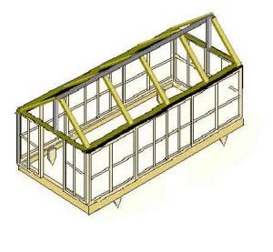 Один из стандартных проектов теплицы из дерева