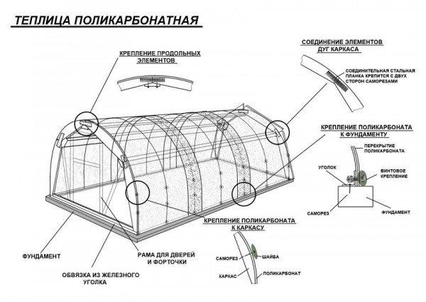 Подробный проект изготовления теплицы из поликарбоната, с указанием соединительных элементов, методов крепежа и мест стыковки