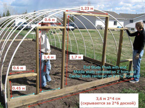 Пример простой арочной теплицы с размерами