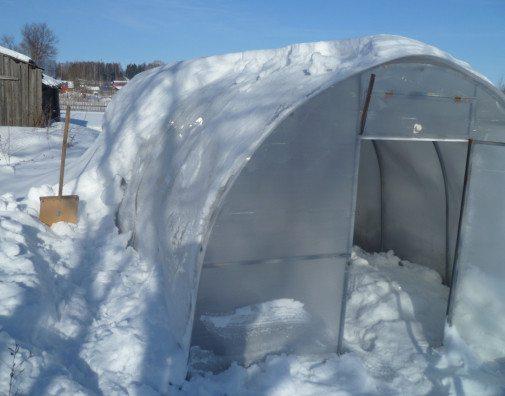 Процесс заполнения теплицы снегом