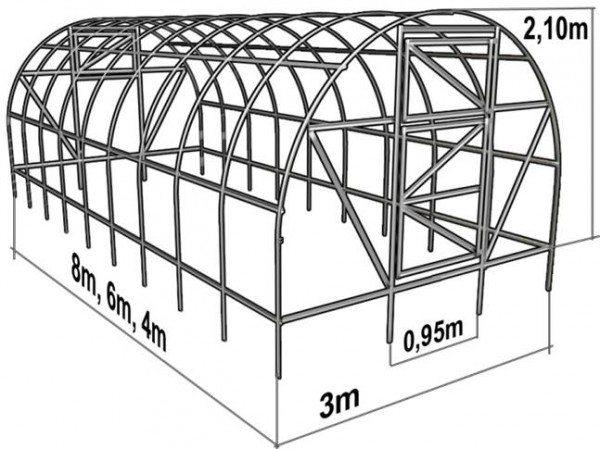 Схема арочной основы для теплицы