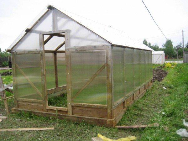 Теплица для овощей: деревянный каркас, покрытие – поликарбонат.