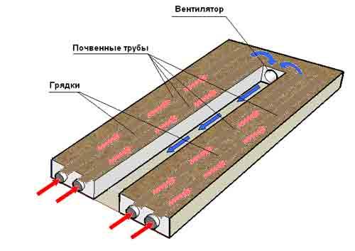 Воздух вентилируется по проложенным под грядками трубам.