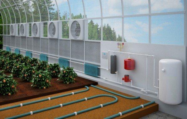 Организация водяного отопления почвы и воздуха.