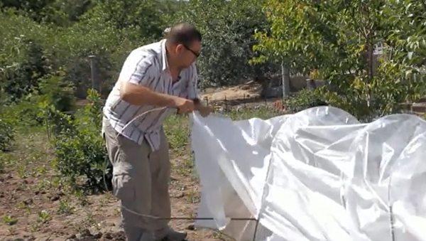 Дуги продеваются в шлёвки на плёнке