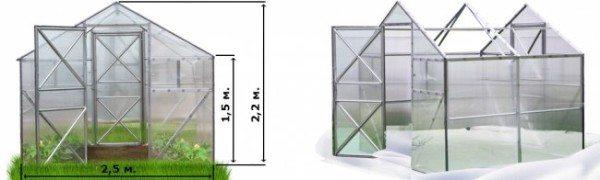На рисунке приведены стандартные размеры парника, его длина может составлять 2,2; 4,3 или 6,4 м