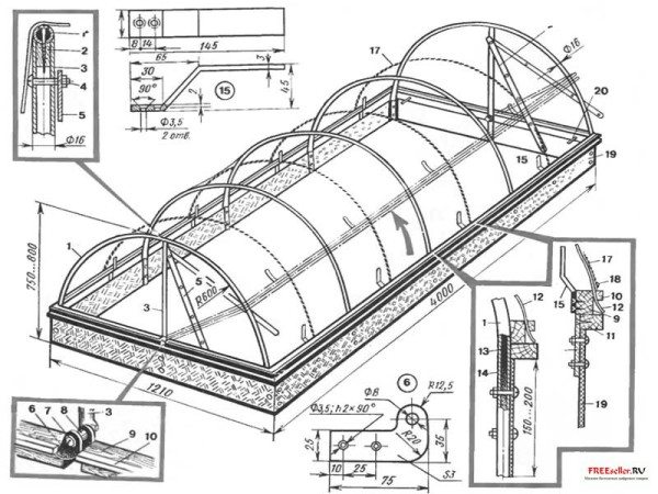 Схема как делать парник арочного типа из готовых дуг